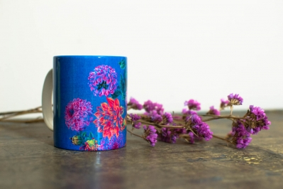 Coffee Mug. Dahlias